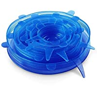 Silicone Stretch Fresh Food Cover Stretch Lids, 6-Pack of Various Sizes (Blue)