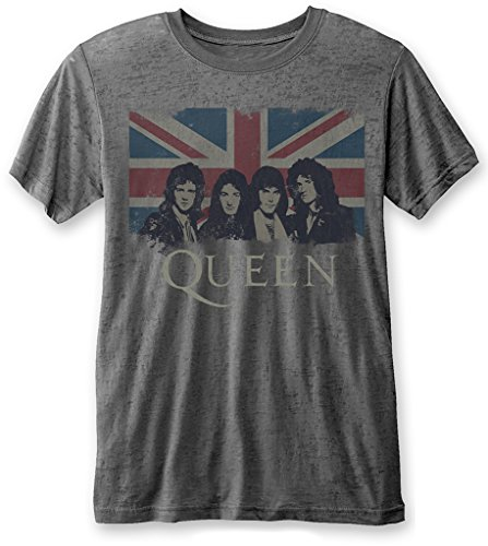 Queen 'Vintage Union Jack' Burnout T-Shirt