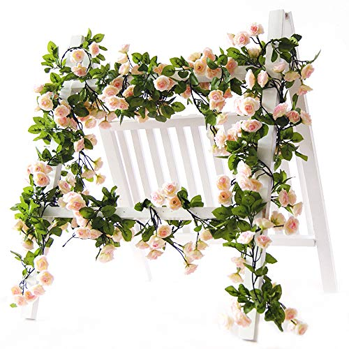 Li Hua Cat Künstliche Blumenranke mit 60Rosenknospen. Girlande mit künstlichen Blumen und Pflanzen für Hochzeit, Party, Garten, Basteln, Dekoration, 2 Stück Spring-pink