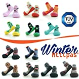 Attipas Ringle Navy Winter Kollektion - dicke Socken,Baby Lauflernschuhe, atmungsaktive Kinder Hausschuhe ABS Socken Babyschuhe Antirutsch 20 6-12 Monate und u 0-1 Jahre