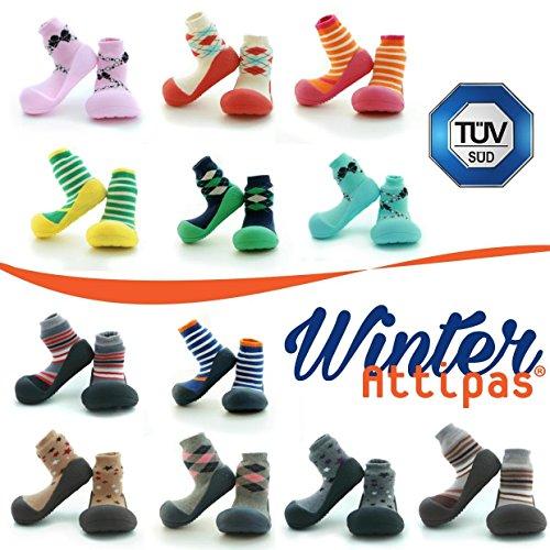 Attipas Argyle Navy Winter Kollektion - dicke Socken,Baby Lauflernschuhe, atmungsaktive Kinder Hausschuhe ABS Socken Babyschuhe Antirutsch 20 6-12 Monate und 0-1 Jahre -
