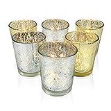Uworth Juego de 6 Portavelas de Cristal Candelero Velas de te Decoracion para Bodas Oro/Plata