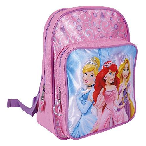 Rucksack für Mädchen - Kinder Schulranzen mit Aschenputtel, Arielle und Rapunzel - Schulrucksack für Schule und Kindergarten - Perletti 23x30x11 cm (Disney Prinzessin Schule Rucksack)