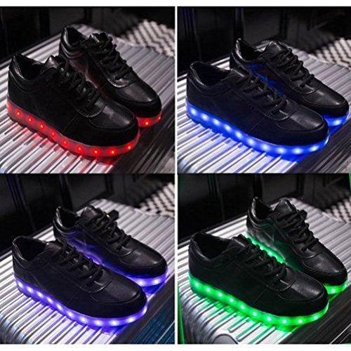[Présents:petite serviette]JUNGLEST® 7 Couleur Mode Unisexe Homme Femme USB Charge LED Lumière Lumineux Clignotants Chaussures de ma c39
