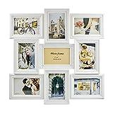 Bilderrahmen, Fotorahmen, Barock, Antik, Portraitrahmen, Fotocollage für 9 Foto 10x15cm, weiß