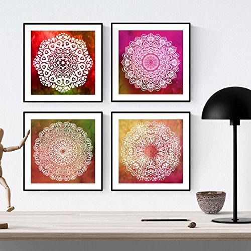 PACK von Blättern, um Dankbarkeit einzurahmen. Quadratische Poster mit Bildern von Mandalas. Inneneinrichtung. Rahmen zum Rahmen. Papier 250 Gramm hohe Qualität
