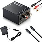 DazzelOn™ Digital SPDIF Optical Coax to Analog RCA 2.1 Stereo Audio Converter Adapter with Toslink Optical Fiber Cable | Stereo Female RCA Cable