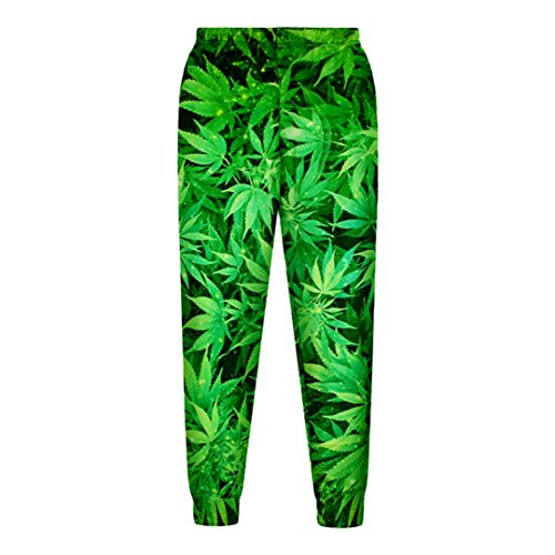 WEPTANSES Lässige Streetwear Sweatshirt und Hosen Feuille Green Hanf Blatt Weed 3D Crewneck Hoodie Pullover Männer Und Frauen Trainingsanzug Green Pants XXL (Onesies Junioren Für)