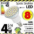 8-er Pack ALMIPEX E14 LED Lampe 4W (320lm - 4500 K - Weiß - 24 x 5050 SMD LED - 120º Abstrahlwinkel - E14 Sockel - 230V AC - 4 Watt - Ø 50×73 mm) von Almipex Swiss GmbH - Lampenhans.de
