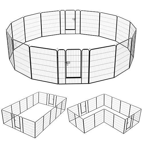 Yaheetech 16 eckig Welpenauslauf Welpenlaufstall Freigehege Welpenzaun Gehege mit 2 Türen je Panel 80 x 100 cm Outdoor oder Indoor -