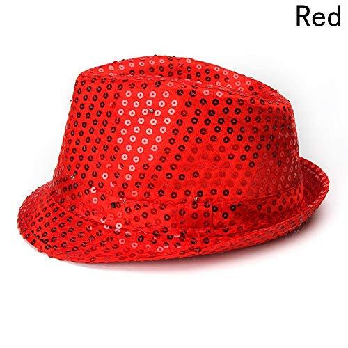 (LXMDCAPA Hut Führte Lichter Cowboy Hat Weihnachten Pailletten Erwachsene Cap Stage Party Requisiten Leistung Leuchtmützen, Rd,)