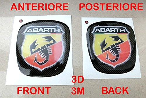 Abarth-logo (500Abarth Kit Aufkleber Stickers Logo Wappen Halter Fiat Nuova 500vorne + hinten geharzt Effekt 3d Aufkleber 3m Motorhaube Kofferraum)