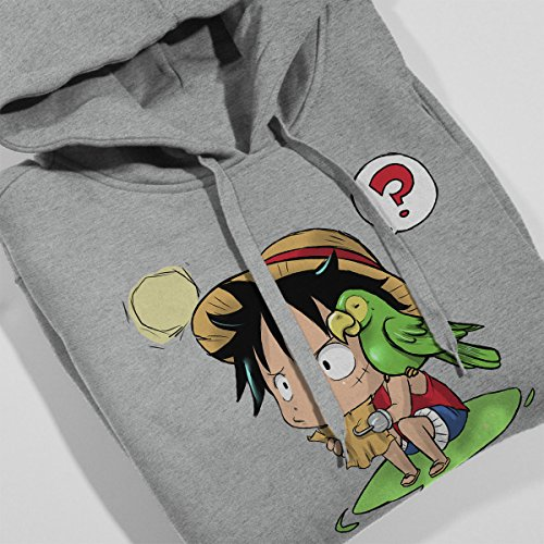 Chibi Monkey D Luffy One Piece Women's Hooded Sweatshirt Heather Grey