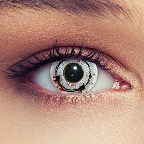 """Rote blutige Maschendraht Kontaktlinsen gruselige Kontaktlinsen für Halloween """"Blood Spike"""" + gratis Kontaktlinsenbehälter (innerhalb Dt.)"""