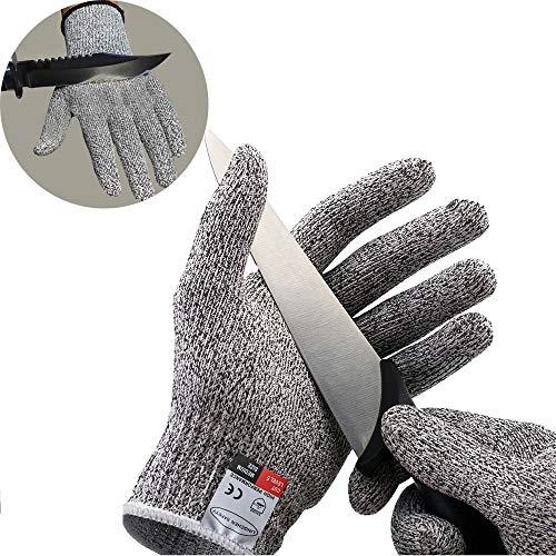 Schnittschutzhandschuhe, Lanking High Performance Level 5 Schutzsicherheitsarbeit Kitchen Proof Handschuh (Grau, M)