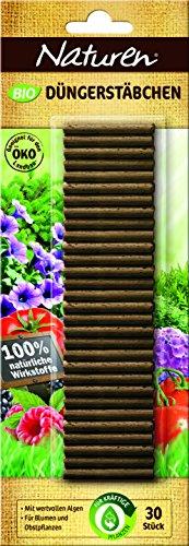 Naturen Bio Düngerstäbchen organische Düngestäbchen für Balkon-, Terrasse- & Zimmerpflanzen mit 3 Monate Düngewirkung, 30 Stück
