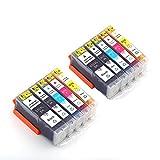 10er Set kompatibel Canon PGI-550XL CLI-551XL Druckerpatronen für Canon Pixma MX925 iP7250 MG5550 MG5650 MX725 iX6850 MX920 MG6650 MG6450 MG5450 iP7200 DruckerÂ