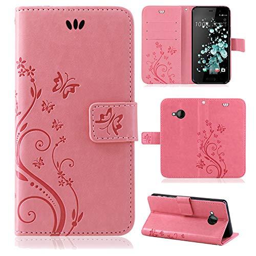 betterfon | Flower Case Handytasche Schutzhülle Blumen Klapptasche Handyhülle Handy Schale für HTC U Play Rosa