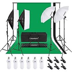 Craphy Kit Eclairage Studio, Support de Fond 2,6mx 3m avec Toile de Fond Vert Blanc Noir, Kit Parapluies et Softbox 6x45W pour Studio Photo