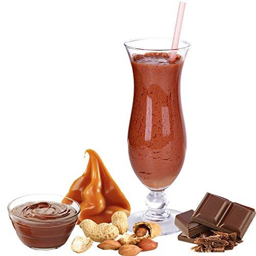 Schoko Karamell Erdnuss Nougat Geschmack Proteinpulver Vegan mit 90% reinem Protein Eiweiß L-Carnitin angereichert für Proteinshakes Eiweißshakes Aspartamfrei (Schoko Karamell Erdnuss Nougat, 1kg)