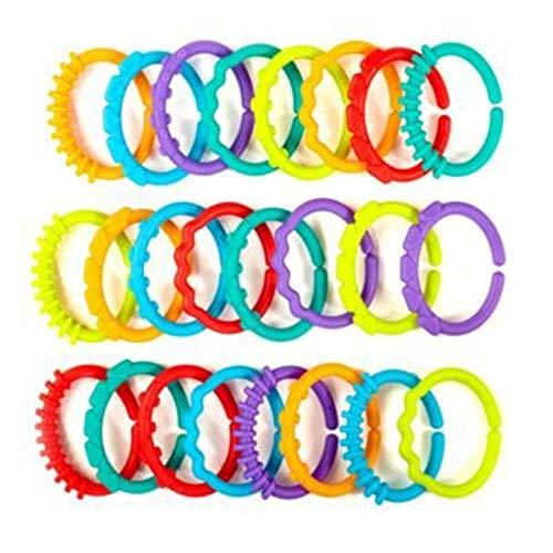 24 stücke Baby Beißring BPA FREI Kaubare Kinderkrankheiten Regenbogen Molaren Kette Ring Spielzeug Baby Frühe Entwicklung Spielzeug - Multicolor