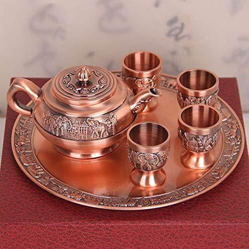 Lour Bronze Tee Set Dekoration Home Craft Dekorationen Geschenk 4 Teetassen und Teekanne und Tablett, rotes Kupfer -