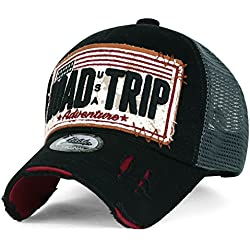 ililily Road Trip Vintage Distressed Snapback Trucker Hat Baseball Cap, Black