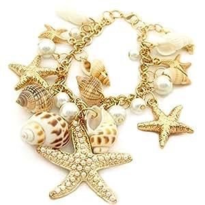 Ozean-Art Multi Seestern Sea Star Seestern Conch Shell Perlen Kette Armband Armkette