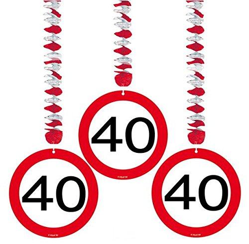 40 Geburtstag Deko Rotorspiralen mit Zahl 40 3er Set Hängende Dekoration zum 40er Geburtstag Party oder andere Anlässe - 2
