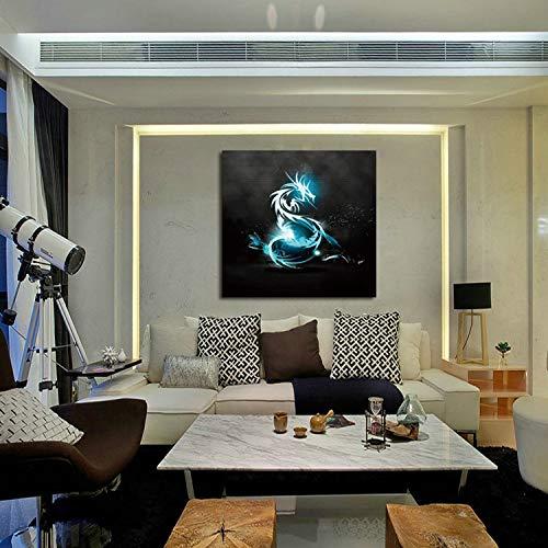 kanhaonio Rahmenlose leinwand malerei einzigen blauen Drachen Tinte malerei rahmenlose ölgemälde 60 * 60 cm