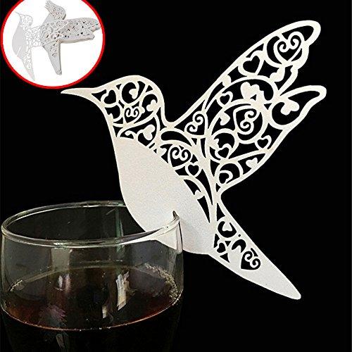 Lnkey shop 50 x Pearly Weiß auf Glas Alkohol Shimmer Laser geschnitten Name Card Tischkarte Tisch Nummer Dekoration für Taufe Kommunion Hochzeit Geburtstag Party oder andere verschiedene Anlässe Vogel-Motiv (Vogel)
