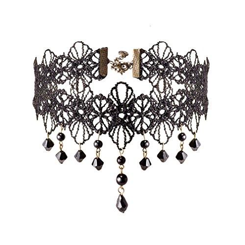 Jane Stone Donne collana nera forma choker fiore...