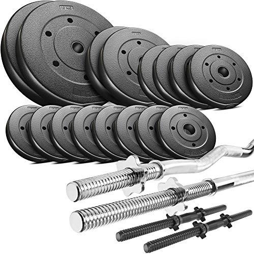 Trex Hantelset Lang-, Curl- und Kurzhantelstange mit Gewichten 50kg bis 160kg zur Wahl (50kg) -