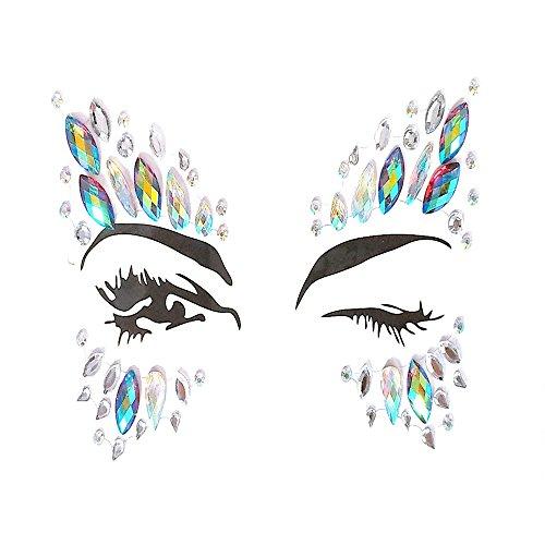 F.lashes Strass Juwelen Face Tattoo Sticker Schmucksteine Kristall Gesicht Glitzersteine Aufkleber Temporäre Stickers Glitter MAKE-UP für Party Festival Shows Glitzer Effekt Parties Shows
