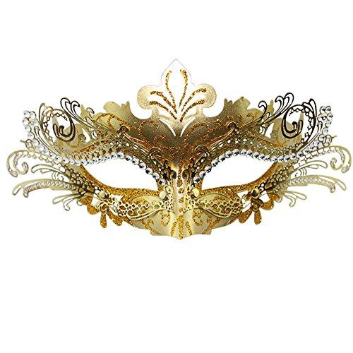 ke im Stil des Karnevals von Venedig, Lasercut, mit Strasssteinen, metall, gold, Einheitsgröße (Masquerade Mask-sticks)