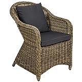 TecTake Poltrona seduta sedia da giardino in alluminio e polyrattan rattan con cuscino sedile e cuscini posteriori - disponibile in diversi colori - (marrone naturale | no. 401766)
