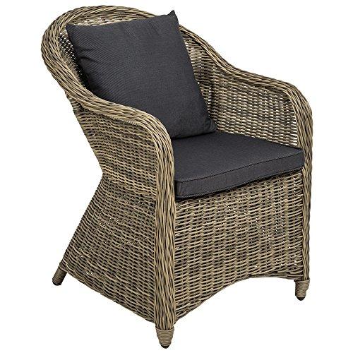 TecTake Aluminio silla de jardín sillón sofa de mimbre poliratán terraza con cojín de asiento y cojín del respaldo - disponible en diferentes colores - (marrón naturaleza | no. 401766)
