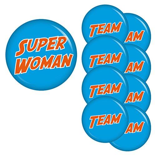 perwoman-Team-Set Buttons Ansteckbutton Junggesellenabschied und Hochzeit (Superwoman-party Dekorationen)