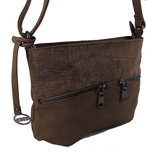 BERNARDO BOSSI kleine Damen Taschen Umhängetasche Schultertasche Handtasche Hobo Bag STEFANO verschiedene Farben --präsentiert von RabamtaGO®-- braun Modell 2