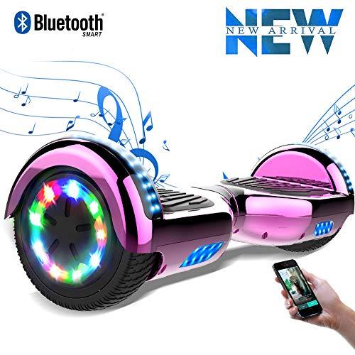Cool&Fun 6,5 Pouces Hoverboard avec LED Flash Bluetooth Smart Scooter Skateboard Électrique Gyropode 2x350W de Boutique GyroGeek (Chrome Rose)
