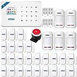 KERUI W18 WiFi GSM SMS APP Funk Einbruchmeldeanlage Komplettset - Bewegungsmelder - Tür- und Fensterkontakt - Externe Sirene - Sabotageschutz Smart-Home-System