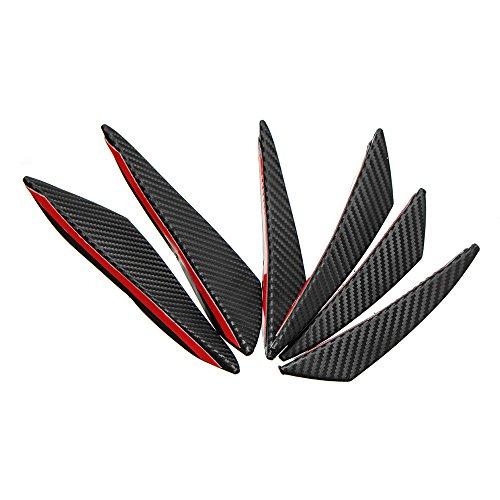 ChaRLes 6 Stücke Universal Carbon Fiber Spoiler Frontstoßstange Finnen Spoiler Canards Refit Auto Spoiler Flügel