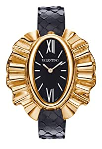 Valentino Princess Women 's Quartz Watch with Black Dial Analogue Display and Black Leather Strap V45SBQ3009S009