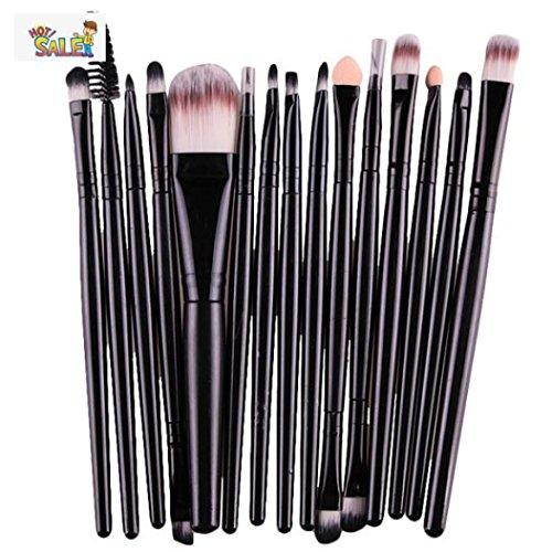 ADESHOP 15 Pcs Ensembles Ombre à PaupièRes Fondation Sourcils Brosse à LèVres Pinceau De Maquillage Outil Makeup Brushes Set (Noir)
