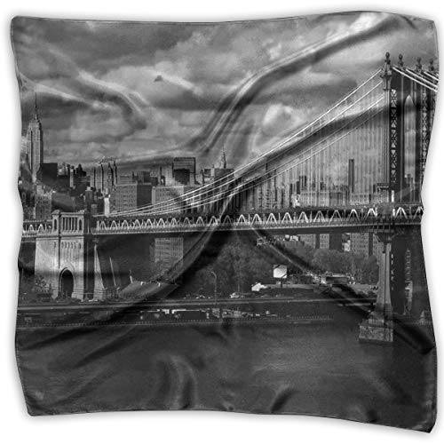 Silk Square Scarves Bandana Scarf, Black And White Panorama Of New York City Skyline With Focus On Manhattan Bridge Photo,Womens Neck Head Set ()
