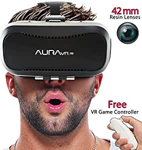 AuraVR Pro vr headset with gaming remote - 42MM fully adjustable VR glasses. Inspired by Google Cardboard