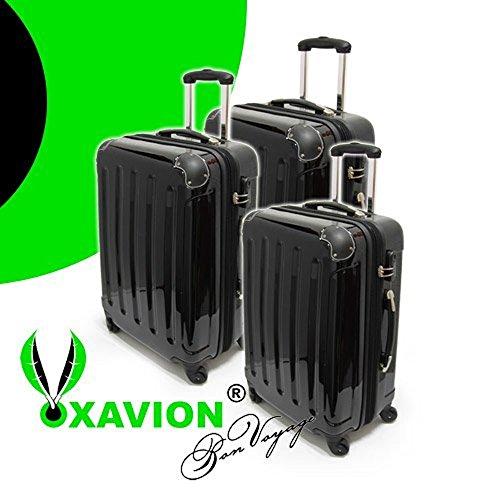 XAVION 3-tlg. Kofferset aus Polycarbonat, Gr. M+L+XL, SCHWARZ