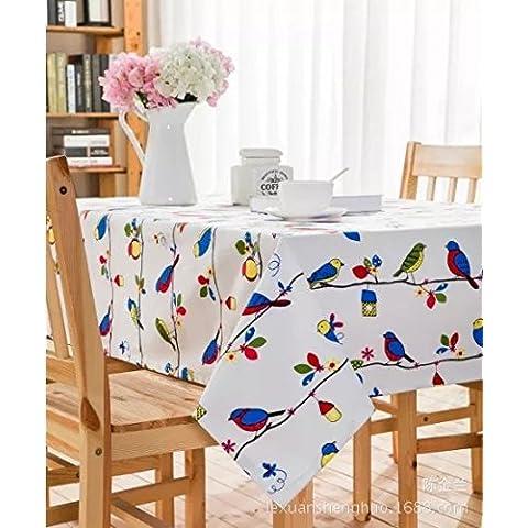 MEICHEN Comedor sala estudio algodón ecológico lona mantel jardín árbol rama pájaro Hotel sala mesa de centro tabla tela mantel , 60*60cm (2) canvas fabric
