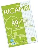 Pigna 00629034M, Ricambio non rinforzato, Rigatura 4M, quadretti 4 mm per 4° e 5° elementare medie e superiori, Carta 80g/mq, Pacco da 40 Fogli