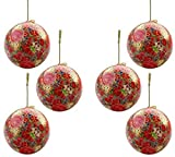 Set of 6 Paper Mache Indian Wooden Christmas Decorations Baubles Balls Tree Ornaments - Unique Gifts for Tree Décor